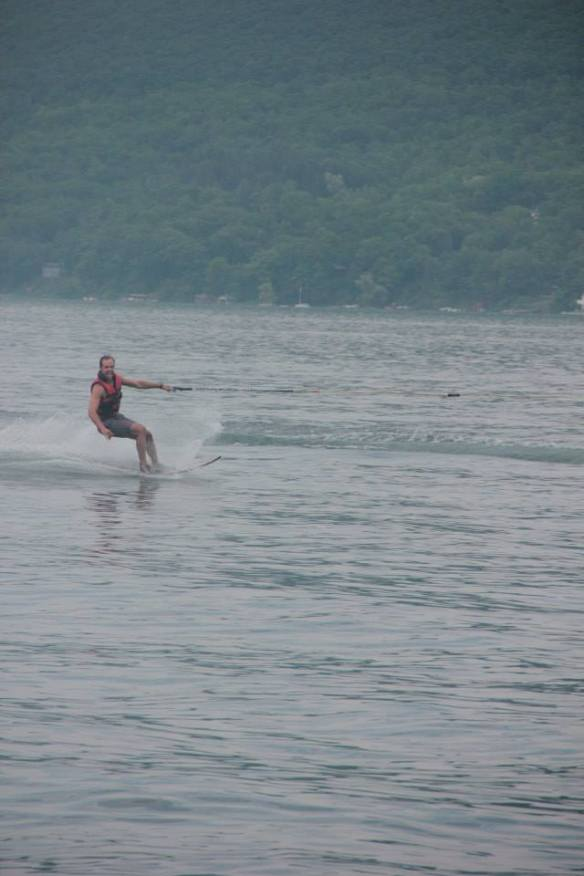 Charlie water skiing